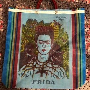 Handbags - Blue Frida Kahlo mesh tote bag